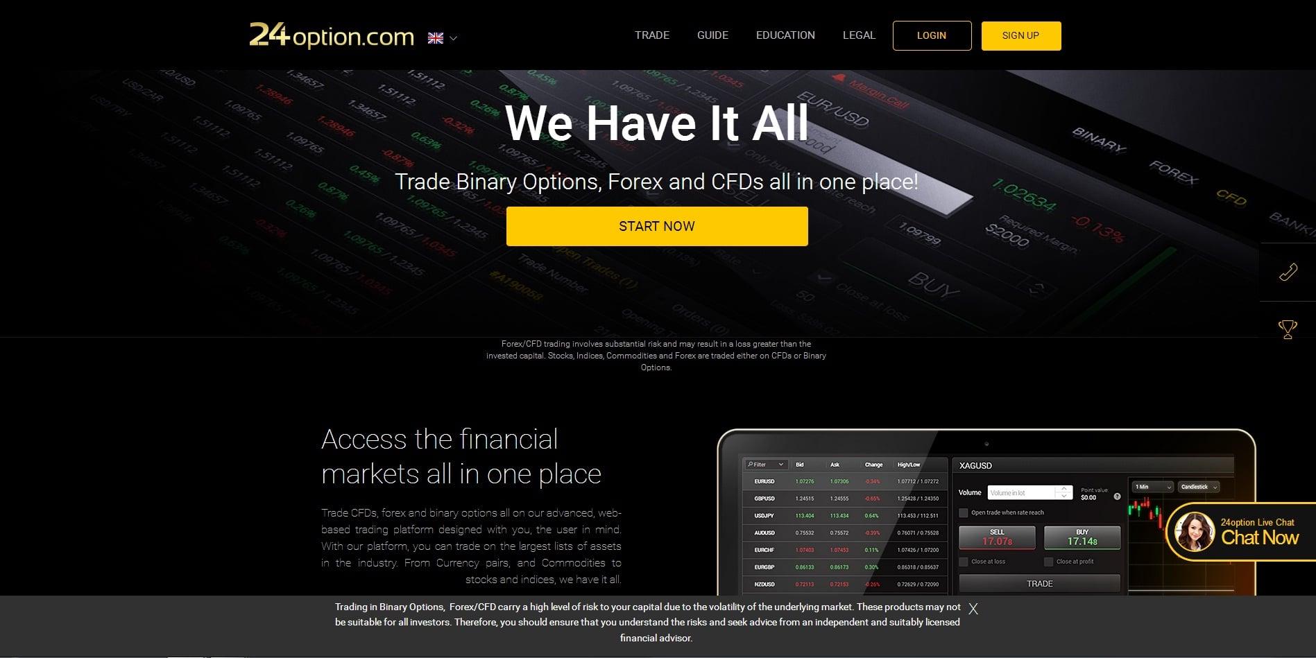 24Option Home Page Screenshot